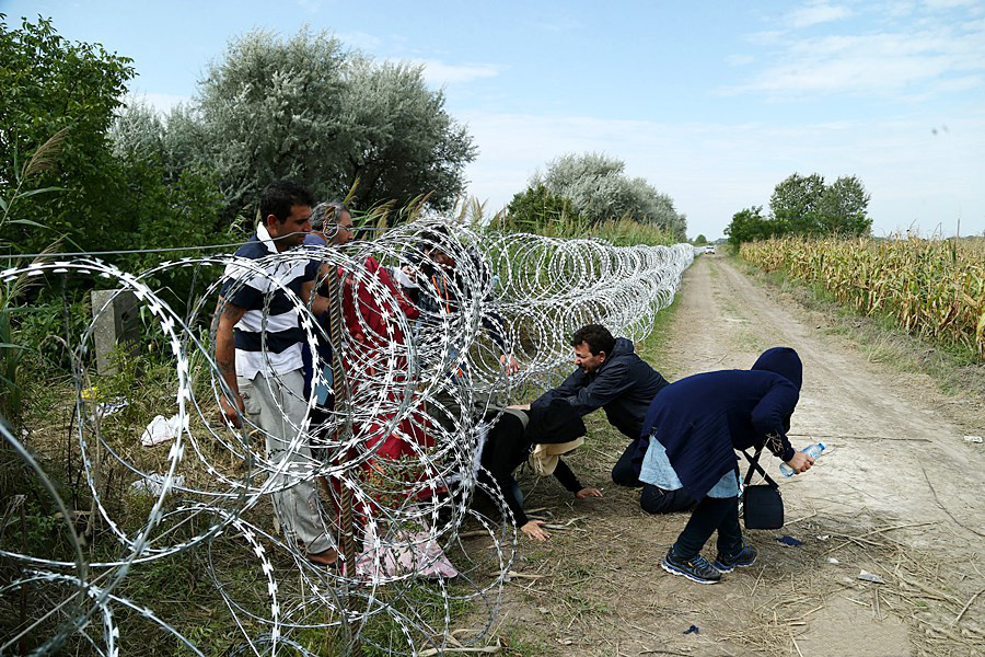 Migrants in Hungary near the Serbian border.